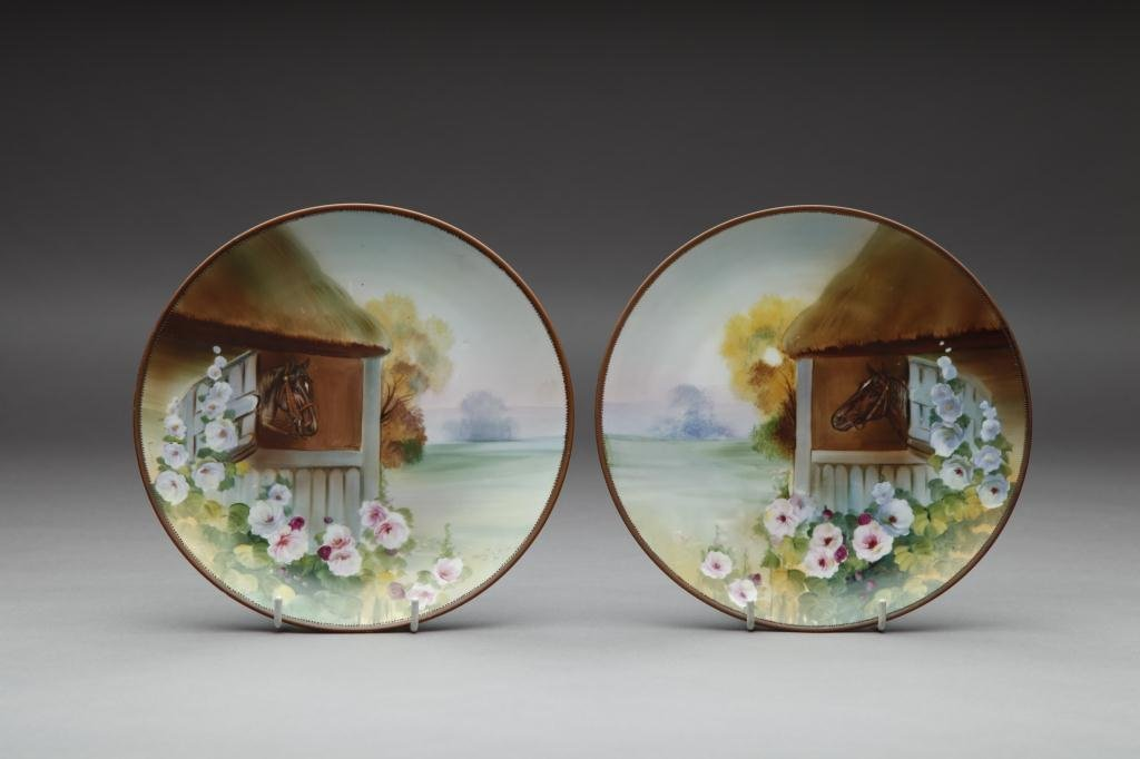 2001: PAIR OF HAND PAINTED NIPPON PLAQUES
