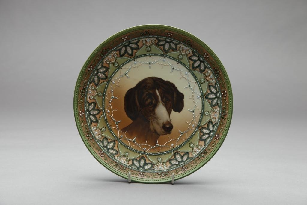 2031: NIPPON HAND PAINTED DOG PLAQUE