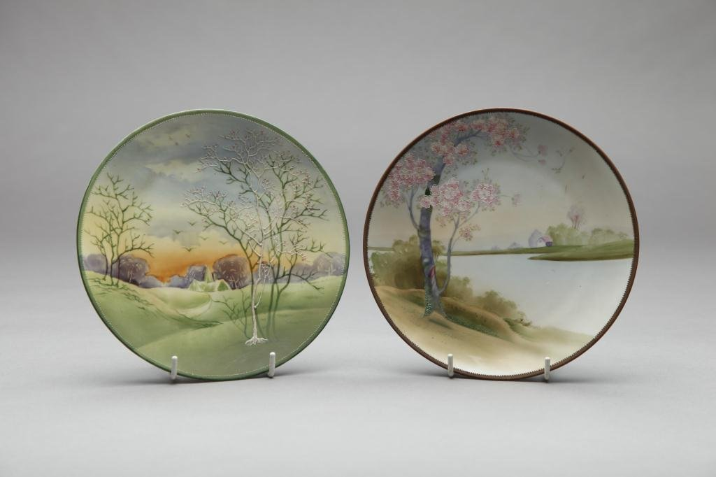 2032: TWO SMALL NIPPON HAND PAINTED PLAQUES