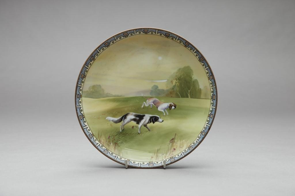 2033: NIPPON HAND PAINTED DOG PLAQUE