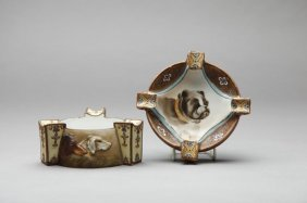TWO NIPPON MOULDED DOG ASHTRAYS