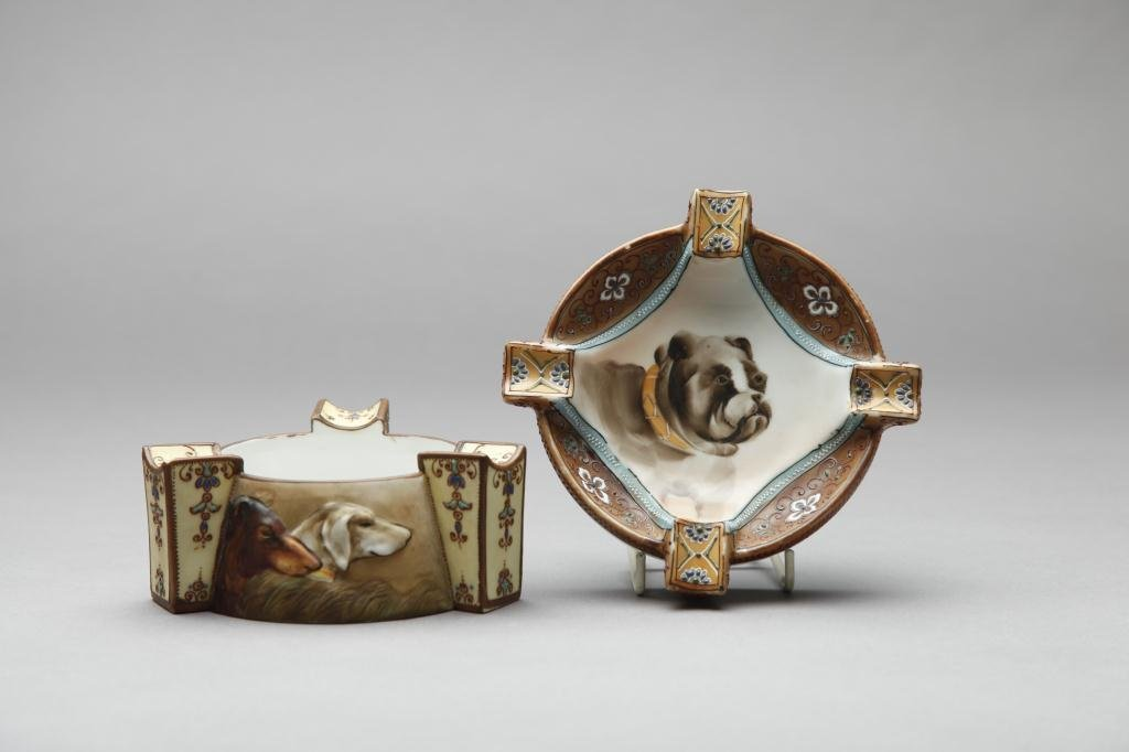 2036: TWO NIPPON MOULDED DOG ASHTRAYS