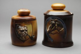 TWO EARLY NORITAKE MOULDED HUMIDORS