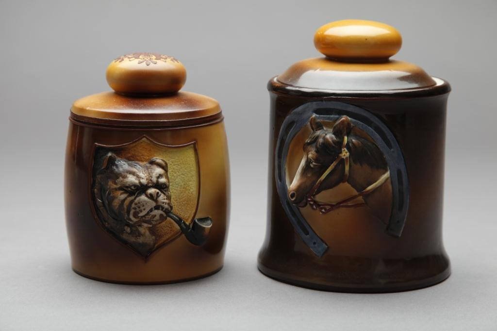 2051: TWO EARLY NORITAKE MOULDED HUMIDORS
