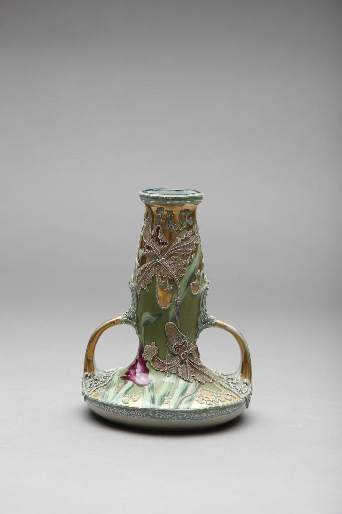 2056: NIPPON HAND PAINTED MORIAGE TWO-HANDLE VASE
