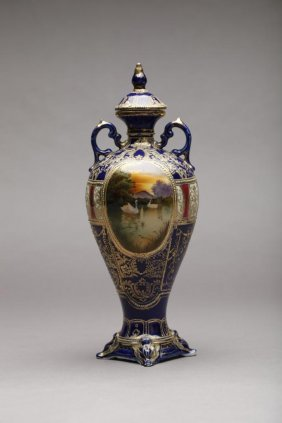 NIPPON COBALT SCENIC PAINTED COVERED URN