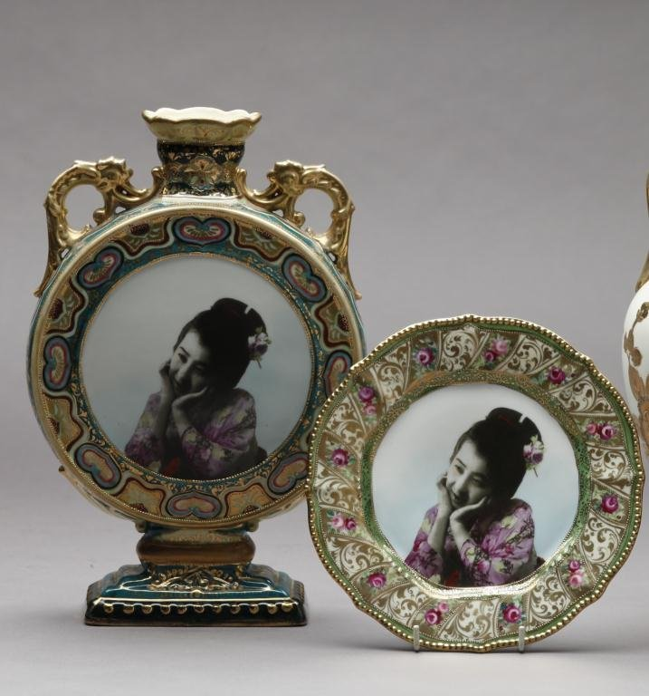 2068: TWO PIECES OF EARLY NORITAKE PORTRAIT WARE