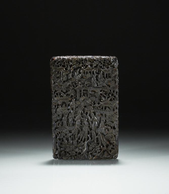 1021: CHINESE EXPORT CARVED TORTOISE SHELL CARD CASE