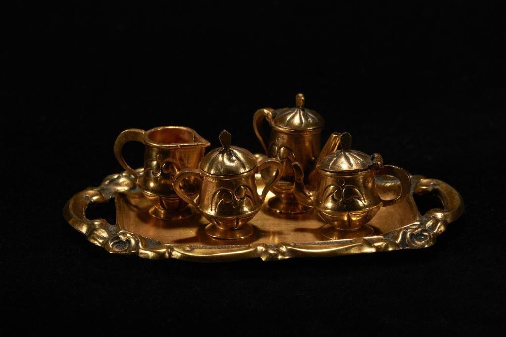 2023: PORTUGUESE SILVER GILT MINIATURE TEA SET