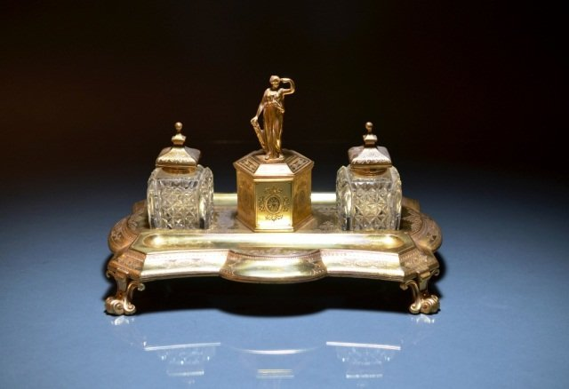6: VICTORIAN SILVER GILT DOUBLE INKSTAND