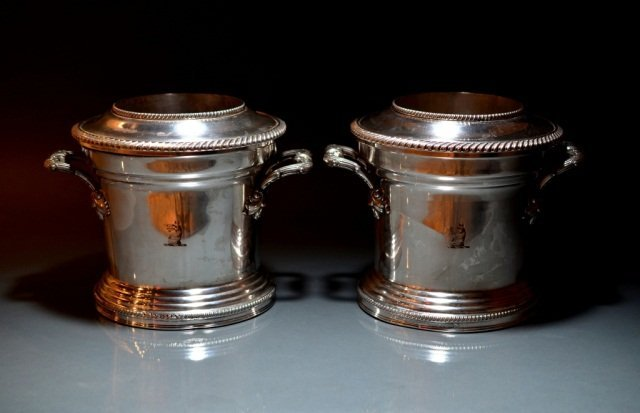9: PAIR OF SHEFFIELD PLATE WINE COOLERS