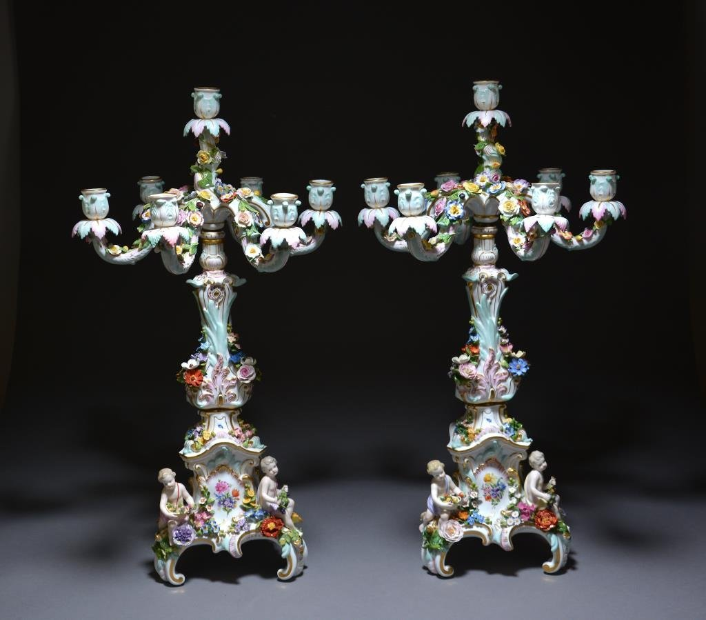 PAIR OF MEISSEN PORCELAIN CANDELABRA