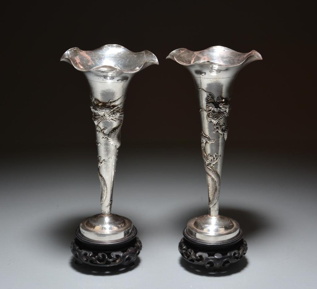 PAIR OF CHINESE EXPORT SILVER BUD VASES