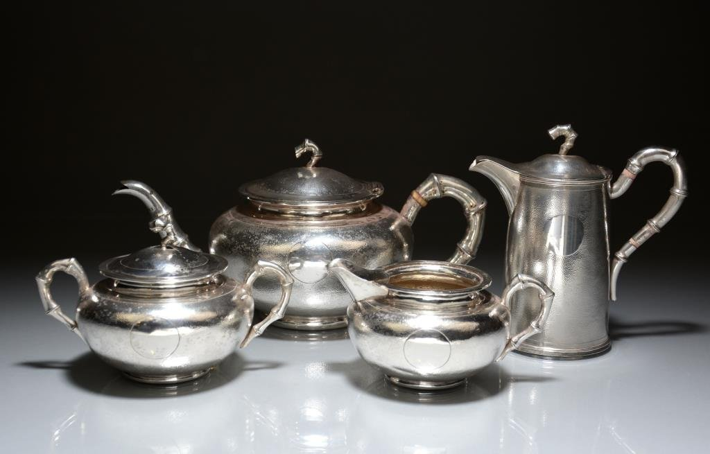 CHINESE EXPORT SILVER TEA & COFFEE SERVICE