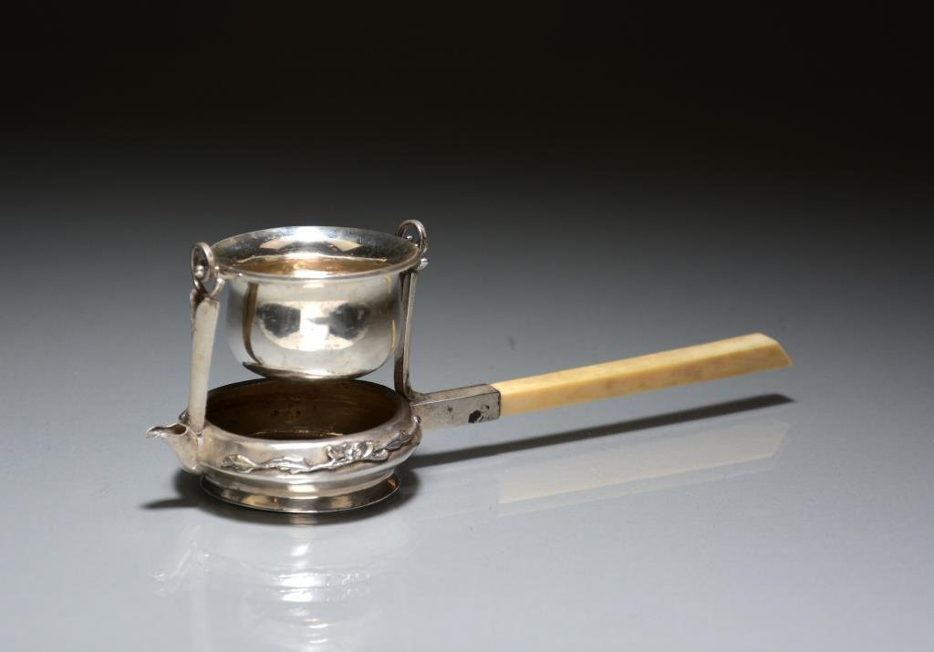 CHINESE EXPORT SILVER & IVORY TEA STRAINER