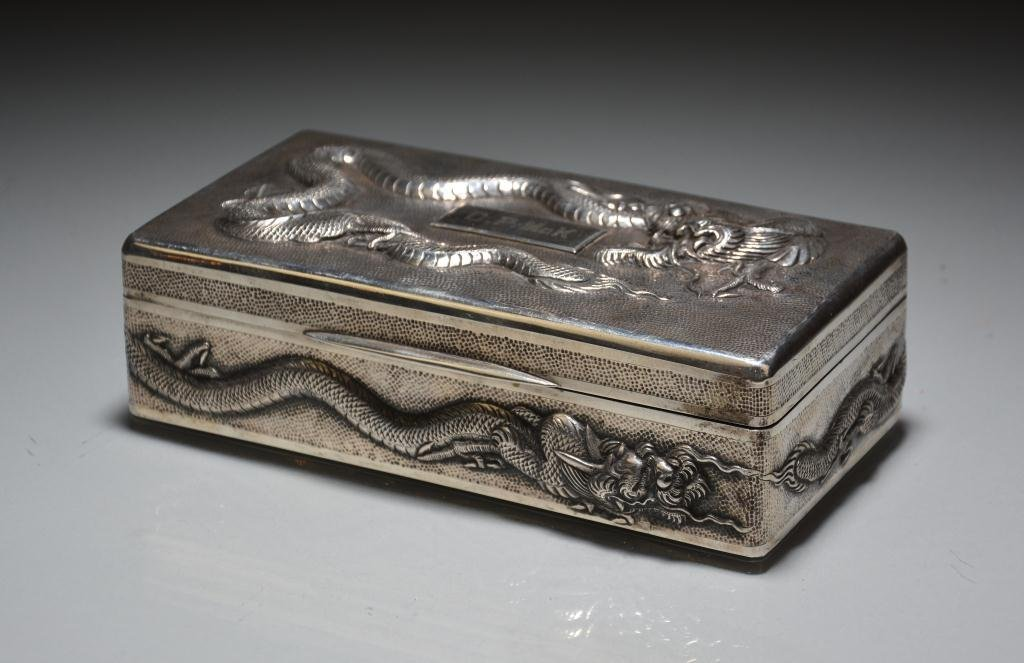 CHINESE EXPORT SILVER DRAGON BOX