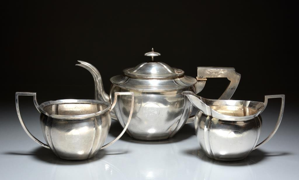 CHINESE EXPORT SILVER THREE PIECE TEA SERVICE