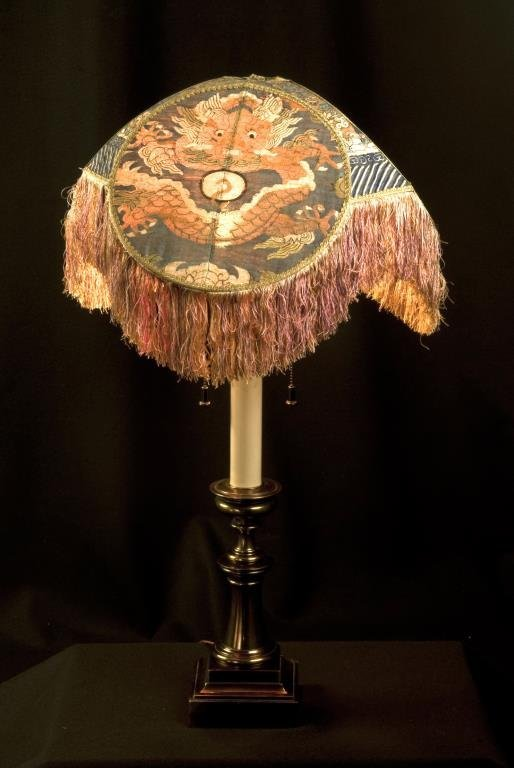 CHINESE SILK KESI IMPERIAL BADGES AS LAMPSHADE