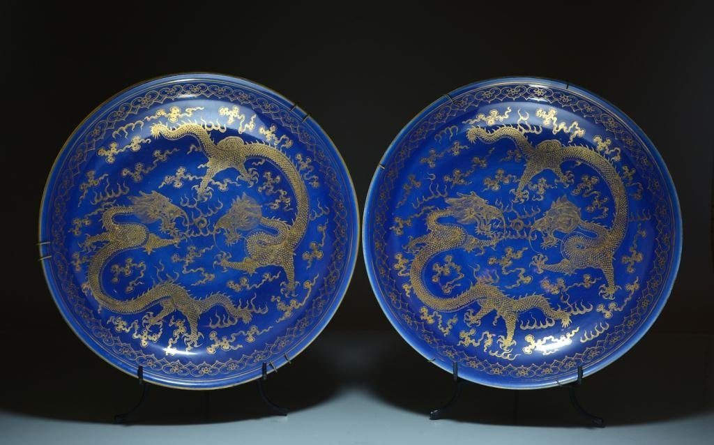 RARE PAIR OF GUANGXU PORCELAIN DRAGON CHARGERS