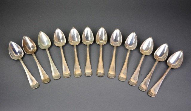Set of twelve Dutch silver serving spoons