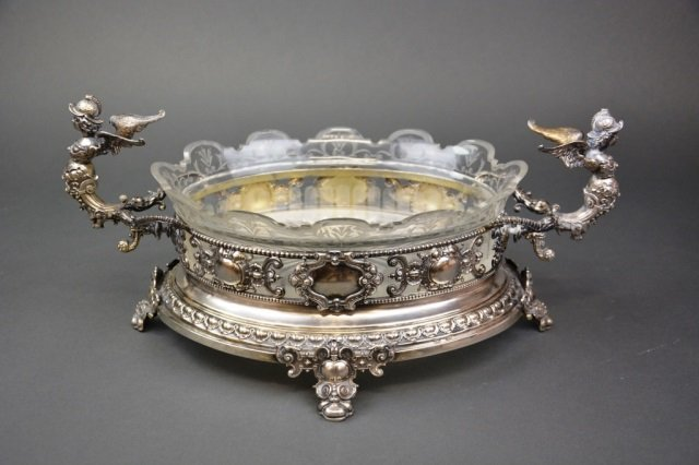 Continental silver and cut glass centrepiece