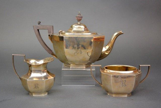 Ryrie Canadian silver three piece tea service