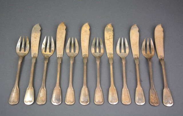 Belgian silver fish service for six