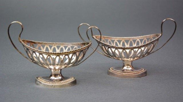 Pair of pierced Dutch silver open salts