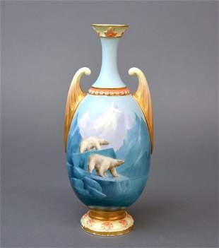 Royal Worcester porcelain Polar Bear vase
