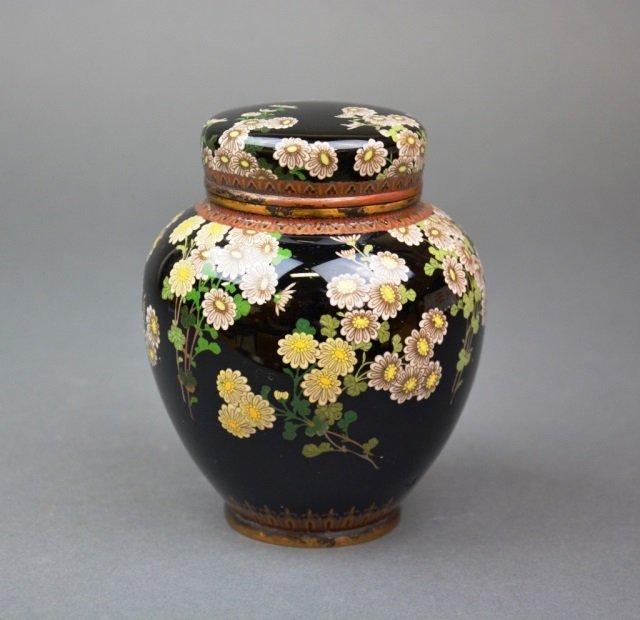 Japanese cloisonne tea caddy