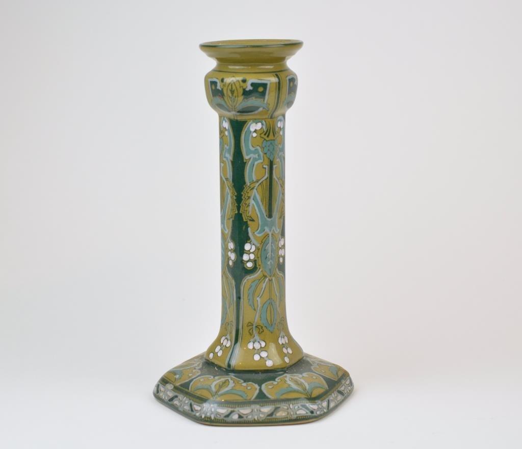 Buffalo Pottery Emerald Deldare Ware Candlestick