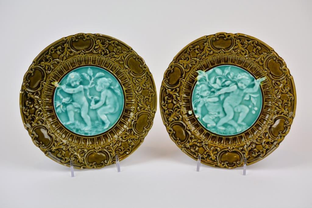 Pair of Villeroy & Boch Majolica Plates
