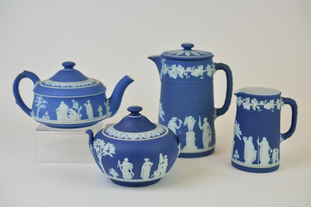 Four Pieces of Wedgwood Blue Jasperware