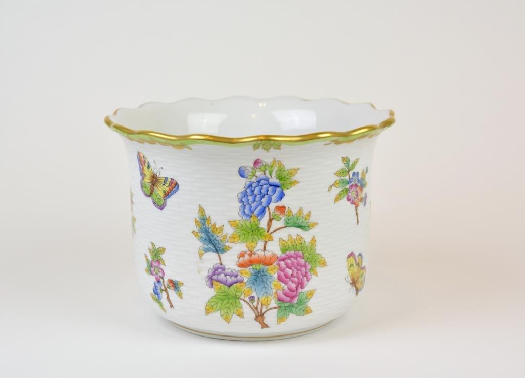 Herend Queen Victoria Patter Porcelain Cache Pot
