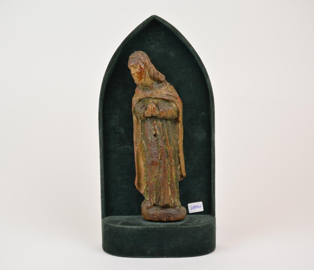 Antique Carved Wood & Polychrome Figure Of A Saint