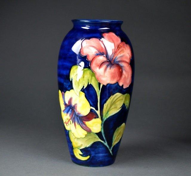 Moorcroft Pottery Hibiscus Pattern vase