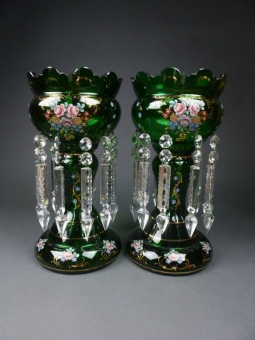 Pair of green glass lustres