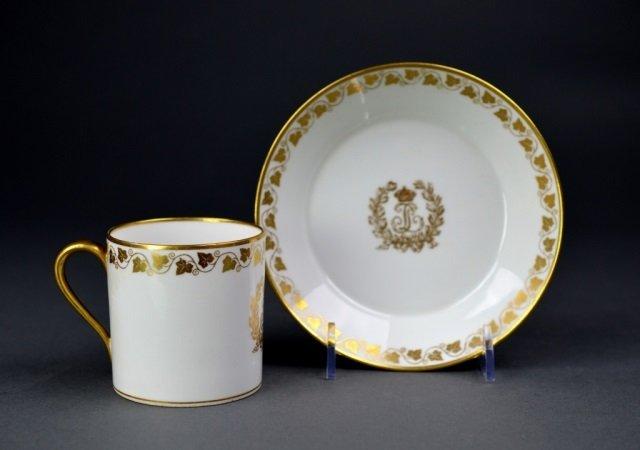 Sevres Chateau De F Bleau porcelain cup & saucer