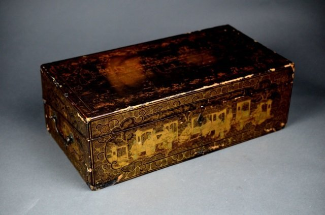 19th C. Chinese lacquered wood lap desk