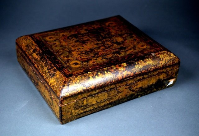 19th Century Chinese lacquer games box