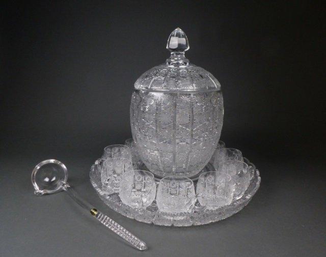 Czechoslovakian cut crystal punch bowl set