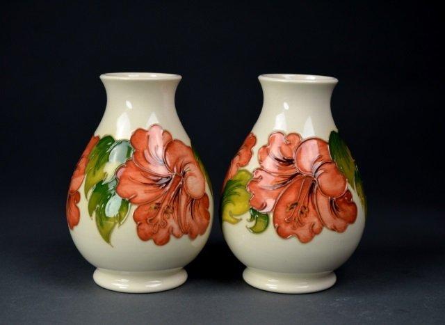 Two Moorcroft Hibiscus pattern vases