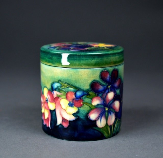 Moorcroft Spring Flowers covered jar