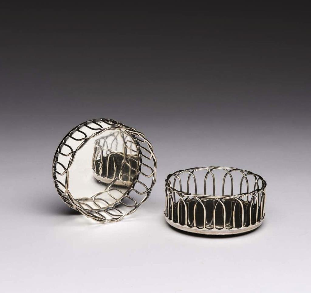 PAIR OF VICTORIAN ENGLISH SILVER BOTTLE COASTERS