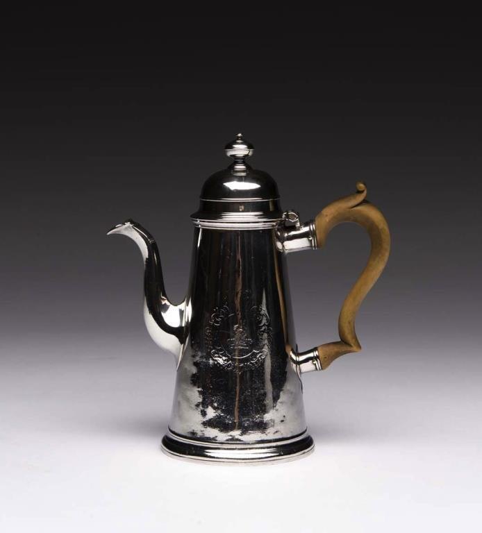 GEORGE I ENGLISH SILVER COFFEE POT