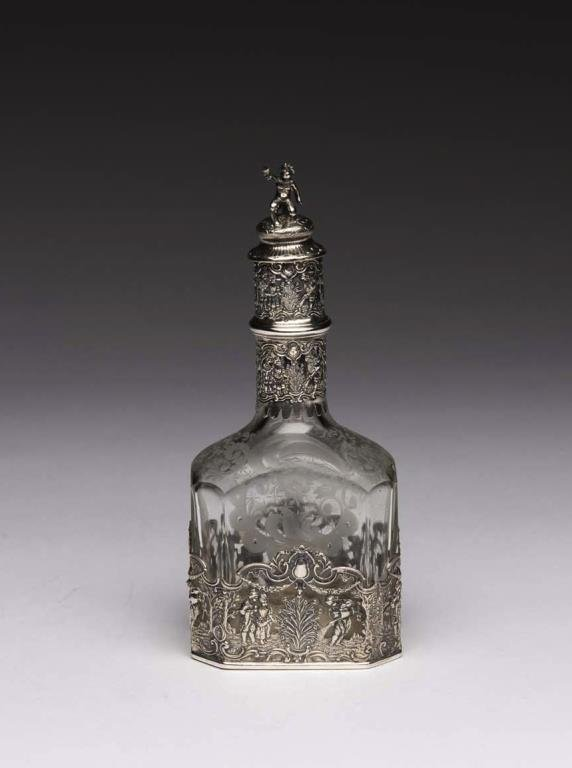 GERMAN SILVER & ETCHED GLASS DECANTER