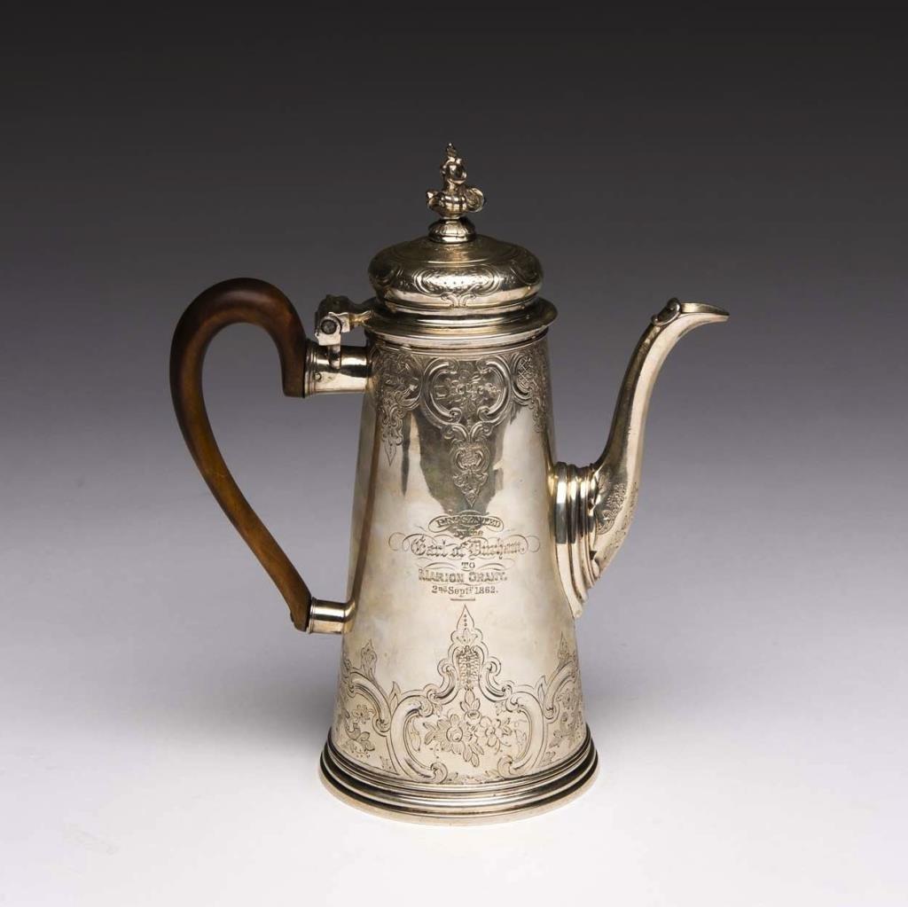 GEORGE II ENGLISH SILVER COFFEE POT