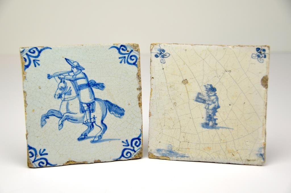 Two Early Dutch Delft Tiles, 17th/18th C