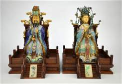 CLOISONNE AND IVORY FIGURES OF EMPEROR AND EMPRESS