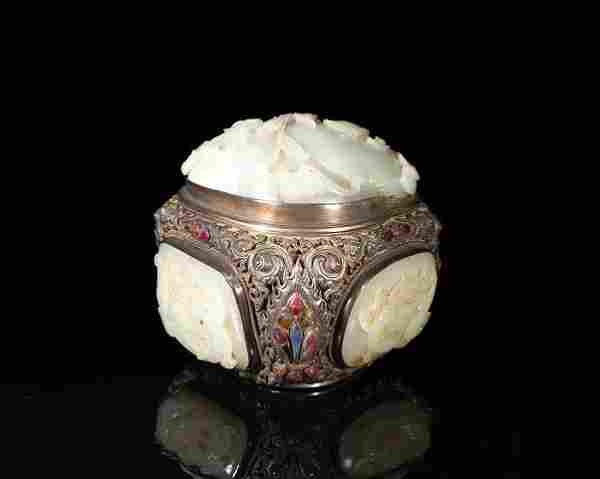 CHINESE SILVER & CARVED JADE BOX